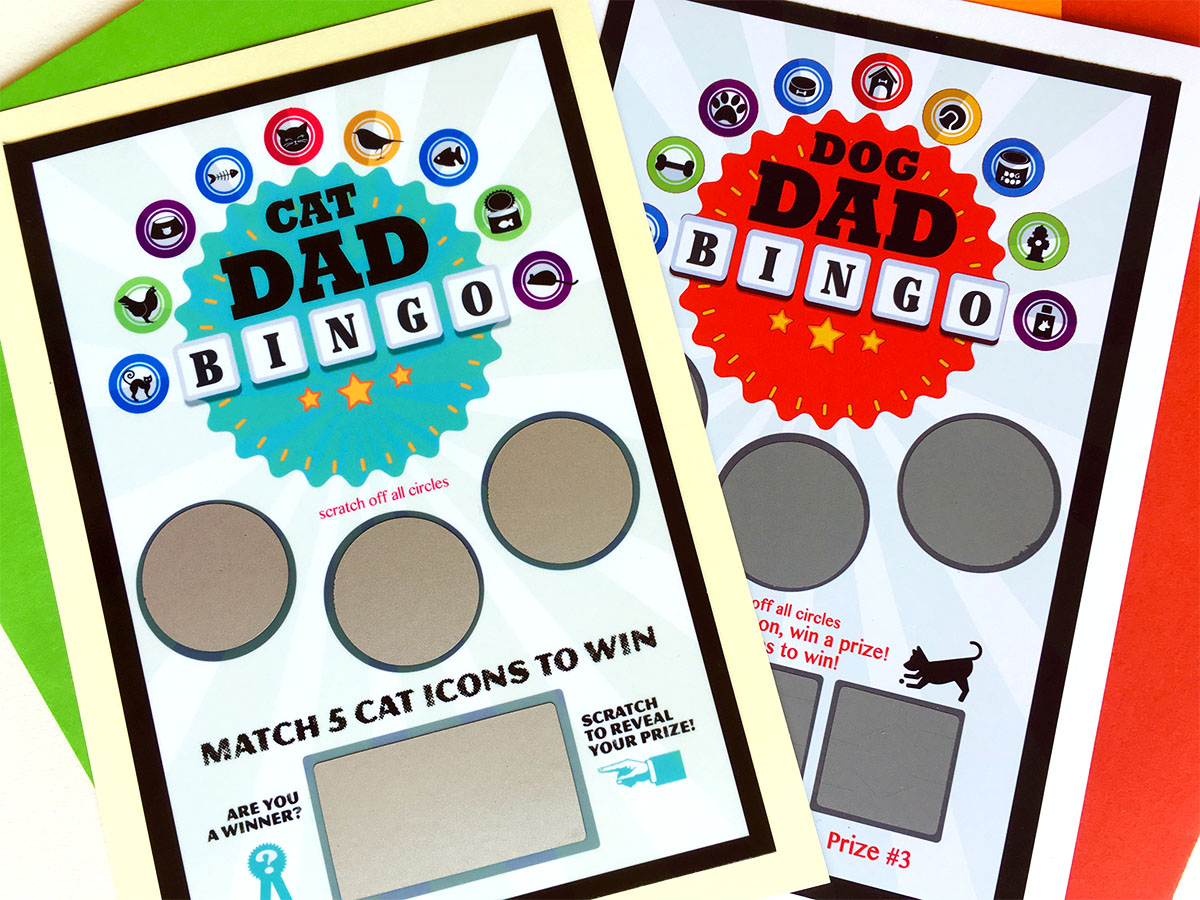 Cat & Dog Dad Scratch-Off Bingo Cards
