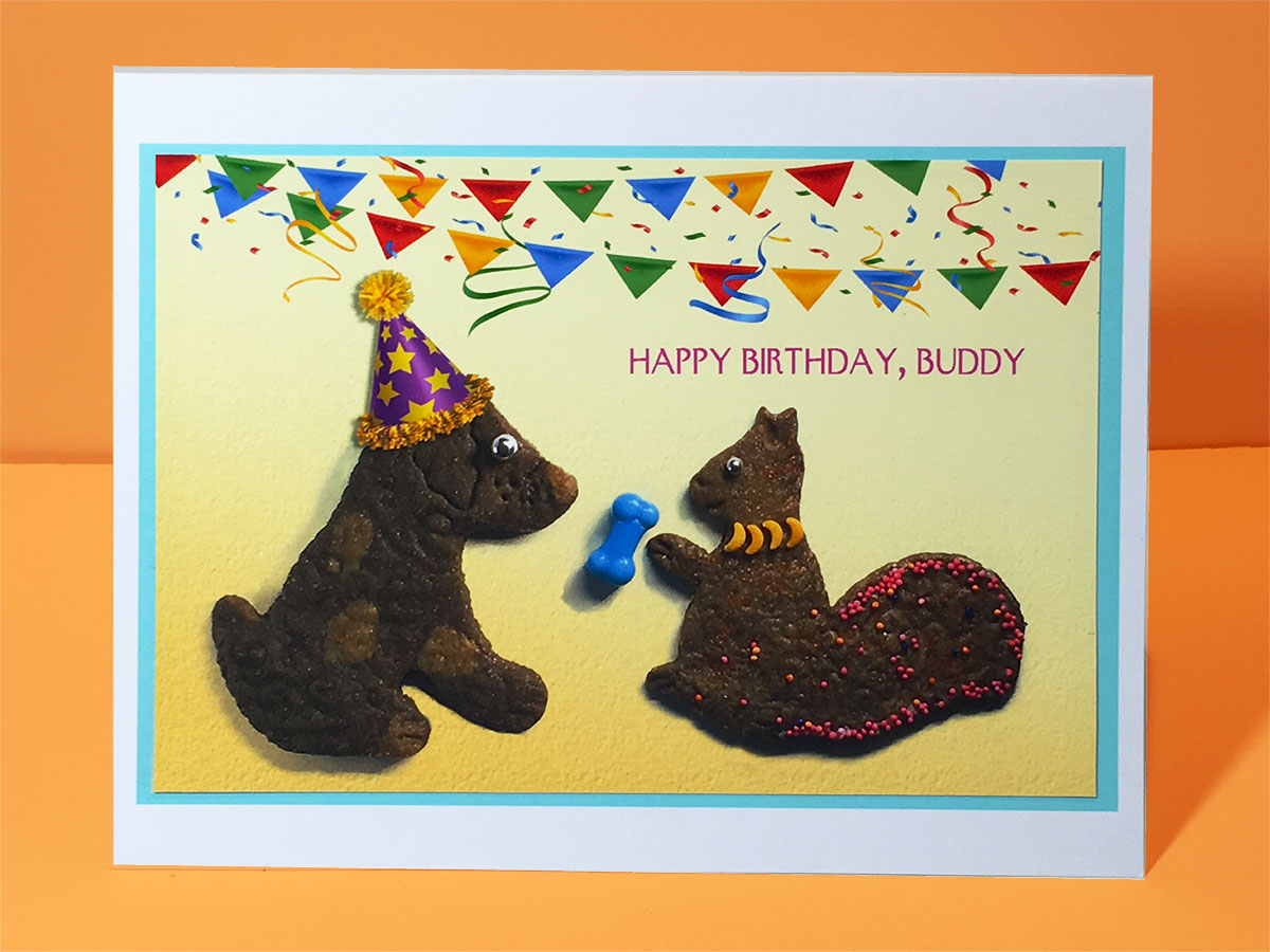 Happy birthday buddy dog and squirrel greeting card party pet cards happy birthday buddy dog and squirrel greeting card m4hsunfo