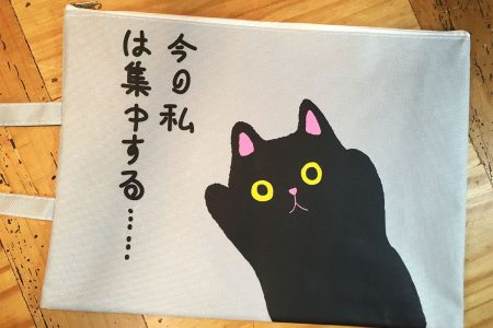 Cat Document or iPad Bag, Japanese Kawaii-Style